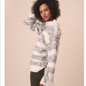 Lou & Grey fringe striped sweater size small